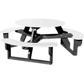 Polly Products Open Round Table, White Top/Black Frame