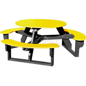 Polly Products Open Round Table Yellow Top Black Frame