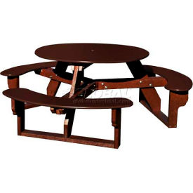 Polly Products Open Round Table, Brown Top/Brown Frame