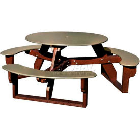 Polly Products Open Round Table, Sage Top/Brown Frame