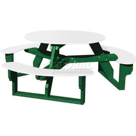 Polly Products Open Round Table, White Top/Green Frame