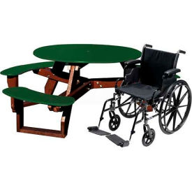 Polly Products Open Round Handicap Access Table, Green Top/Brown Frame