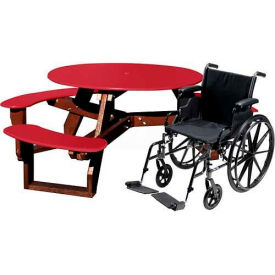 Polly Products Open Round Handicap Access Table, Red Top/Brown Frame