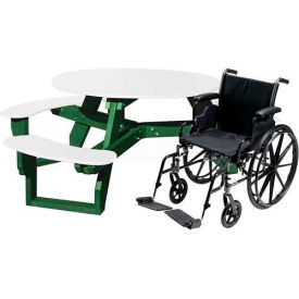 Polly Products Open Round Handicap Access Table, White Top/Green Frame