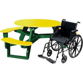 Polly Products Open Round Handicap Access Table, Yellow Top/Green Frame