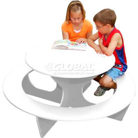 Polly Products Round Activity Table, White Top/White Frame