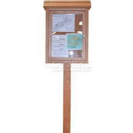 """Polly Products Small Message Center - 2 Sided/1 Post, Brown, 22""""W x 30""""H"""