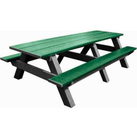 Polly Products Standard 8' Picnic Table, Green Top & Bench/Black Frame