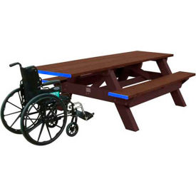 Polly Products Standard 8' Picnic Table ADA Compliant One End, Brown Top & Bench/Brown Frame