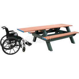 Polly Products Standard 8' Picnic Table ADA Compliant One End, Green Top & Bench/Brown Frame