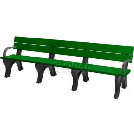 Polly Products Traditional 8 Ft. Backed Bench with Arms, Green Bench/Black Frame