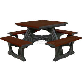 Polly Products Town Square Table, Brown Top/Black Frame