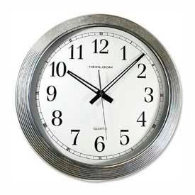 "Artistic® 16"" Round Quartz Wall Clock, Metal Galvanized Case, Silver/White"