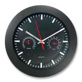 "Artistic® 12"" Round Quartz Wall Clock with Temperature & Humidity Display, Black"