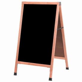 """Aarco Solid Oak A-Frame Sidewalk Black Marker Board 24""""W x 42""""H by"""