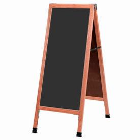 """Aarco Solid Oak Wood A-Frame Sidewalk Black Chalkboard - 18""""W x 42""""H"""