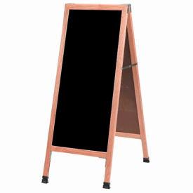 """Aarco Solid Oak A-Frame Sidewalk Black Marker Board 18""""W x 42""""H by"""