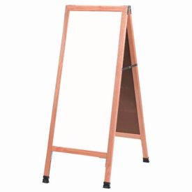 """Aarco Solid Oak A-Frame Sidewalk White Marker Board 18""""W x 42""""H by"""