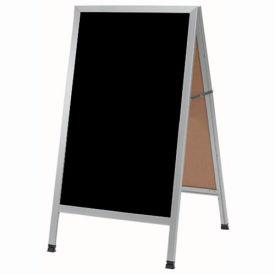 """Aarco Aluminum A-Frame Sidewalk Black Marker Board 24""""W x 42""""H by"""