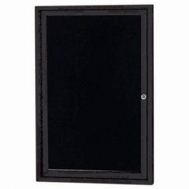 """Aarco 1 Door Letter Board Cabinet Black Powder Coat 24""""W x 36""""H by"""