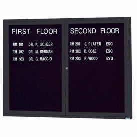 "Aarco 2 Door Letter Board Cabinet Black Powder Coat - 48""W x 36""H"