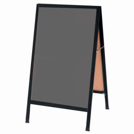 "Aarco Aluminum Black Powder Coated A-Frame Sidewalk Black Chalkboard - 24""W x 42""H"