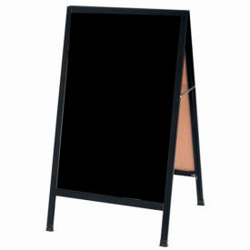 "Aarco Aluminum Black Powder Coated A-Frame Sidewalk Black Marker Board - 24""W x 42""H"