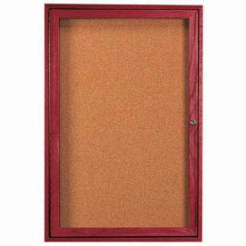 """Aarco 1 Door Cherry Enclosed Bulletin Board - 18""""W x 24""""H"""