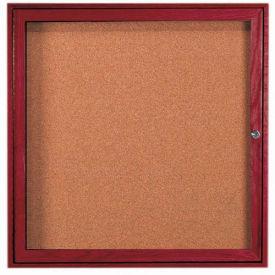 """Aarco 1 Door Cherry Enclosed Bulletin Board - 36""""W x 36""""H"""