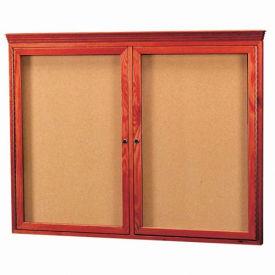"""Aarco 2 Door Red Cherry Bulletin Board w/ Crown Molding - 48""""W x 36""""H"""
