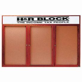 """Aarco 3 Door Cherry Enclosed Bulletin Board w/ Header - 72""""W x 36""""H"""