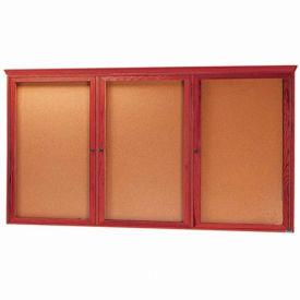 """Aarco 3 Door Red Cherry Bulletin Board w/ Crown Molding - 72""""W x 36""""H"""