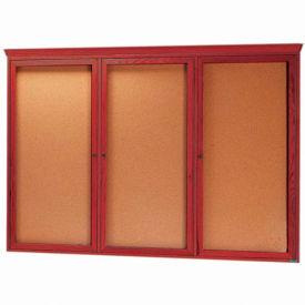 """Aarco 3 Door Red Cherry Bulletin Board w/ Crown Molding - 72""""W x 48""""H"""