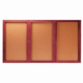 """Aarco 3 Door Cherry Enclosed Bulletin Board - 96""""W x 48""""H"""