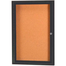"Aarco 1 Door Framed Enclosed Bulletin Board Bronzed Anod. - 18""W x 24""H"