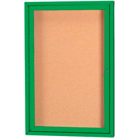 "Aarco 1 Door Framed Enclosed Bulletin Board Green Powder Coat - 18""W x 24""H"