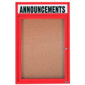 "Aarco 1 Door Aluminum Framed Bulletin Board w/ Header Red Powder Coat - 18""W x 24""H"