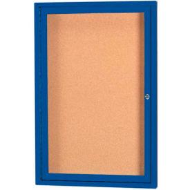 "Aarco 1 Door Framed Illuminated Enclosed Bulletin Board Blue Powder Coat - 18""W x 24""H"