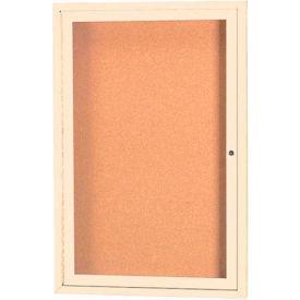 "Aarco 1 Door Framed Enclosed Bulletin Board Ivory Powder Coat - 18""W x 24""H"