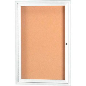"Aarco 1 Door Framed Illuminated Enclosed Bulletin Board White Pwdr. Coat - 18""W x 24""H"