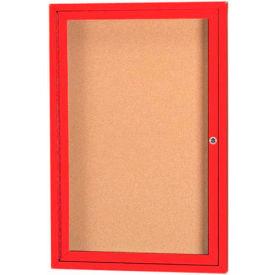 "Aarco 1 Door Framed Enclosed Bulletin Board Red Powder Coat - 18""W x 24""H"