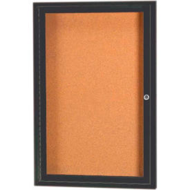 "Aarco 1 Door Framed Enclosed Bulletin Board Bronzed Anod. - 24""W x 36""H"