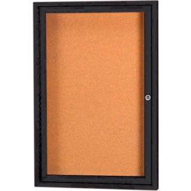 "Aarco 1 Door Framed Enclosed Bulletin Board Black Powder Coat - 24""W x 36""H"