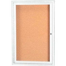 "Aarco 1 Door Framed Enclosed Bulletin Board White Powder Coat - 24""W x 36""H"