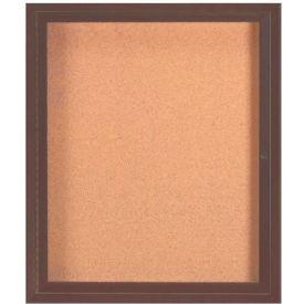 "Aarco 1 Door Framed Enclosed Bulletin Board Bronzed Anod. - 30""W x 36""H"