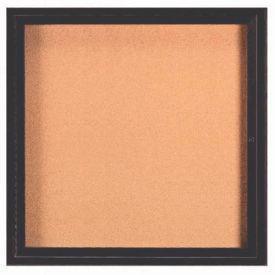 "Aarco 1 Door Framed Enclosed Bulletin Board Black Powder Coat - 36""W x 36""H"