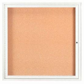 "Aarco 1 Door Framed Enclosed Bulletin Board White Powder Coat - 36""W x 36""H"