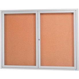 "Aarco 2 Door Framed Illuminated Enclosed Bulletin Board - 48""W x 36""H"