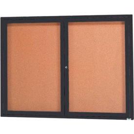 "Aarco 2 Door Framed Illuminated Enclosed Bulletin Board Black Pwdr. Coat - 48""W x 36""H"