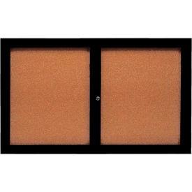 "Aarco 2 Door Framed Enclosed Bulletin Board Black Powder Coat - 60""W x 36""H"